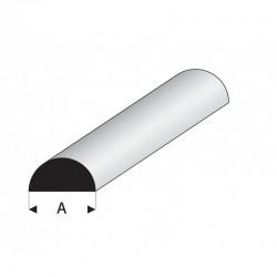profilé blanc styrène demi-rond plein